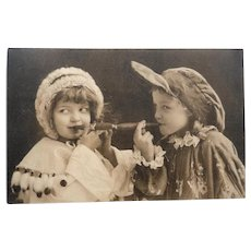 Early 1900's French Photo Postcard of Children Smoking Cigars
