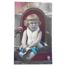 Vintage Early 1900's Real Photo Postcard of Girl with Glasses