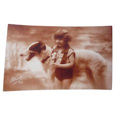 Vintage real Photo Postcard of A Little Girl and Her Borzoi Dog