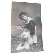 Vintage Real Photo Postcard of Edwardian Boy and His Poodle