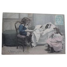 Vintage Child and Spaniel Dog Postcard