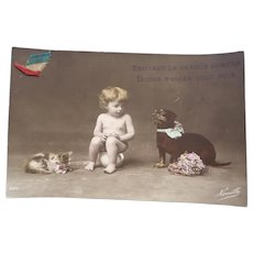 Vintage French Real Photo Postcard of a Child and her Pets