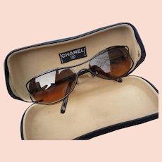 Vintage Designer Chanel Metal Ladies Sunglasses and Case