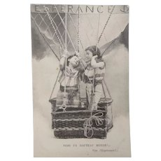 Vintage real photo Postcard of Children in a Hot Air Balloon
