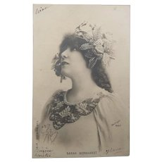 Early 1900's Sarah Bernhardt Vintage Real Photo Postcard
