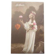 "Early 1900's Real Photo Postcard of ""La Charite"" Girl"