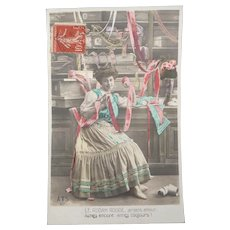 French Vintage Real Photo Postcard of the inside of a Fabric Shop