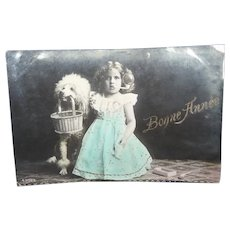 Vintage Real Photo French Postcard of an Edwardian Girl and Her Poodle