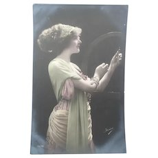 Wonderful Real Photo French Postcard of Edwardian Lady Wearing a Snake Bracelet