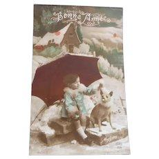 Wonderful Vintage Real Photo Postcard of Edwardian Boy and his pet Dog