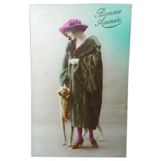 A Vintage French Real Photo Postcard of a Classic Lady and her Pet Greyhound