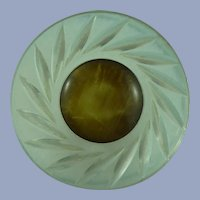 Carved Vintage Lucite Button