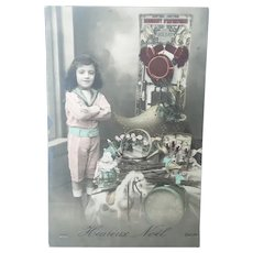 Vintage 1912 Real Photo French Postcard of a Boy and His Toys