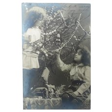 Vintage Christmas Edwardian Real Photo French Postcard