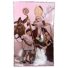 Wonderful Edwardian Santa Christmas Postcard