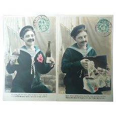 A Pair of 1907 Real Photo French Sailor Vintage Postcards