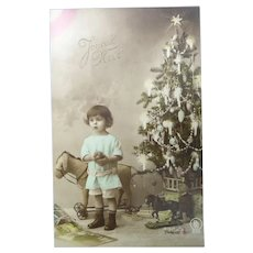 Vintage Edwardian Real Photo French Christmas Postcard