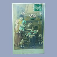 Vintage 1907 Family French Real Photo Christmas Card