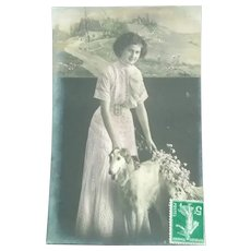 Edwardian Rea; Image Postcard of a Period Lady and her Greyhound
