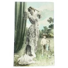Beautiful French Photo Postcard of an Edwardian Lady and her Fairy