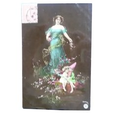 Beautiful Vintage Fairy and Maiden Postcard