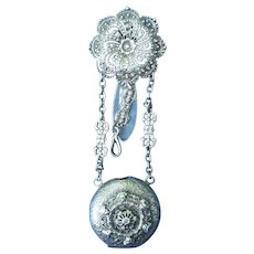 Fantastic Victorian 1800's Silver Watch Chatelaine