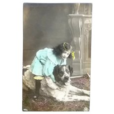 Lovely Real photo Edwardian Girl and her Spaniel Postcard.