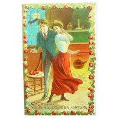 Vintage Edwardian Halloween Postcard of Loving Couple