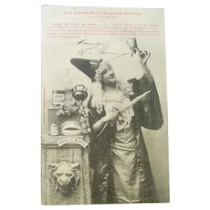 Vintage French Real Photo Halloween Postcard of a Witch