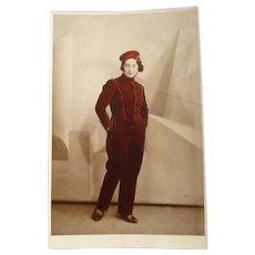 Vintage postcard of a female Bell Hop