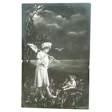 Vintage Real Photo French Postcard of a Fairy and Lady