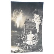 Vintage Edwardian Real Photo Postcard of Children and Angel