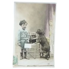 Vintage 1907 French Real Photo Postcard of Boy and his Companion