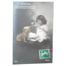 Vintage Edwardian Real Photo French Postcard of Girl and Her Dog