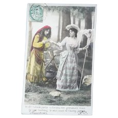 Vintage 1904 French Real Photo Postcard of Fortune Teller Palm Reader