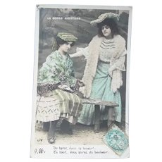 Vintage 1905 Fortune Telling French Real Photo Postcard of a Tarot Card Reader