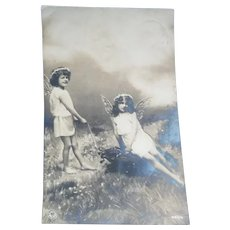 Vintage 1913 French Real Photo Postcards of Fairies Playing
