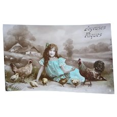 Vintage French Real Photo Easter Postcard of Girl and her pet Chickens