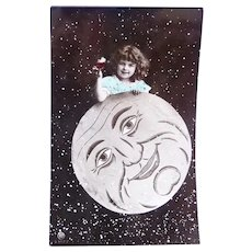 Vintage 1907 Real Photo French Postcard of A Girl Resting on the Moon