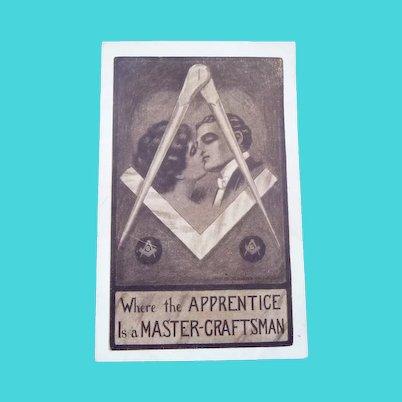 Vintage Freemason's Love Postcard