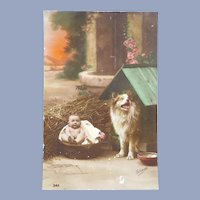 Vintage Edwardian Real Photo French Postcard of A Baby and her Dog