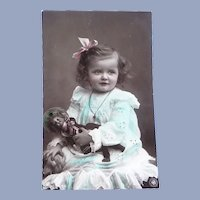 Vintage Edwardian Real Photo French Postcard of Girl and Her Doll