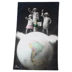 Vintage French Real Photo Postcard of children on Top of the World