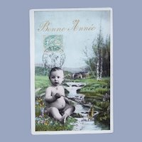 Vintage Real Photo French Postcard of Baby by a Stream