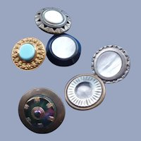 Six Vintage Metal and Pearl Buttons