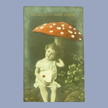 Vintage Early 1900's Real Photo Postcard of Little girl under a toadstool