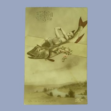 Vintage 1913 Real Photo Surreal French Postcard of Baby on a Flying Fish