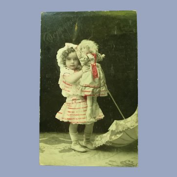 Vintage Real Photo French Postcard of Edwardian Girl and Her Doll