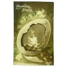 Vintage Easter Real Photo Edwardian Postcard of Child in Egg
