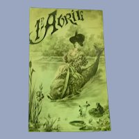 Vintage Real Photo Surreal French Postcard of lady Riding a Fish